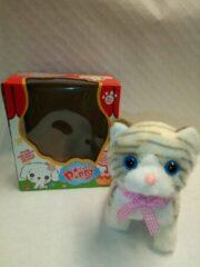 VDTOYS CE Schattige loopkat met piepend geluid - Kat met leiband - katje met geluid - pluche knuffel kleur is grijs
