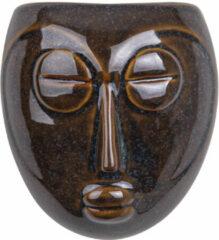 Donkerbruine Pt, (Present Time) Mask - Wand bloempot - keramiek - 16,5x17,5x8,7cm - bruin