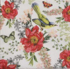 Home Fasion Servetten Bird and Roses 33 x 33 cm