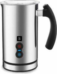 KitchenBrothers Elektrische Melkopschuimer RVS - Inductie - Dubbelwandig - Cappuccino en Latte Schuimer Machine - 240 ml - Roestvrijstaal – Zwart