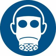 Blauwe Tarifold Pictogram bordje Ademhalingsbescherming verplicht | Ø 100 mm - verpakt per 2 stuks